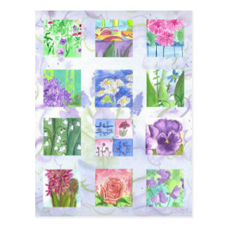 Watercolor Flower Collage Pink Rose Lilac Pansies Postcard