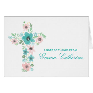 Watercolor Flower Cross First Communion Notes