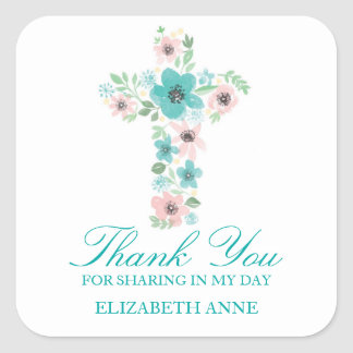 Watercolor Flower Cross First Communion Square Sticker