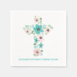 Watercolor Flower Cross First Holy Communion Paper Napkin at Zazzle
