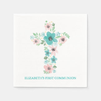 Watercolor Flower Cross First Holy Communion Paper Napkin