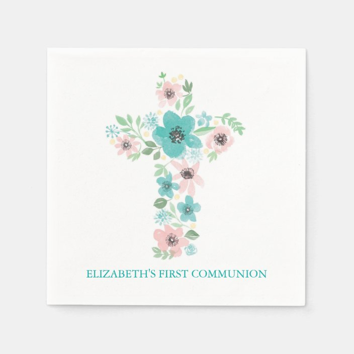 16 x PINK CROSS NAPKINS COMMUNION CONFIRMATION GIRLS PARTY TABLEWARE CHRISTENING