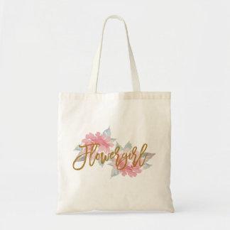 Watercolor Flower FLOWER GIRL Wedding Tote Bag