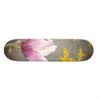 Watercolor Flower & Gold Bees Skateboard Deck