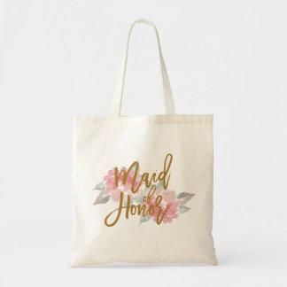 Watercolor Flower MAID OF HONOR Wedding Tote Bag