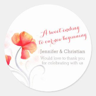 Watercolor flower orange wedding candy stickers round sticker