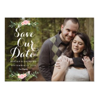 Watercolor Flower Photo Save The Date Card