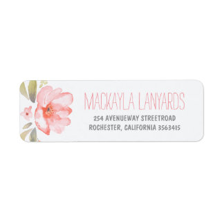 Watercolor Flower Pink Floral Wedding Label