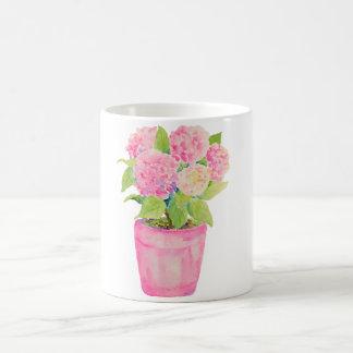 Watercolor Flower Pink Hydrangea Pot Mug