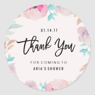 Watercolor Flower Spring Thank You Sticker