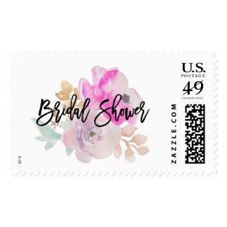 Watercolor Flower Spring Wedding Bridal Shower Postage
