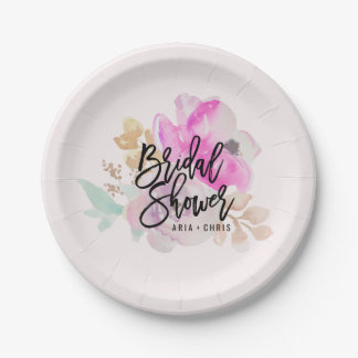 Watercolor Flower Spring Wedding Paper Plates