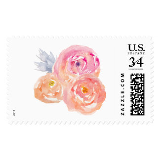 Watercolor Flower Stamp. Cute Flower Stamp. Postage Stamp