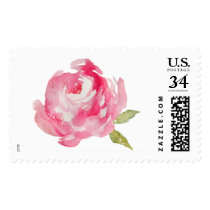 Watercolor Flower Stamp. Watercolor Peony Postage