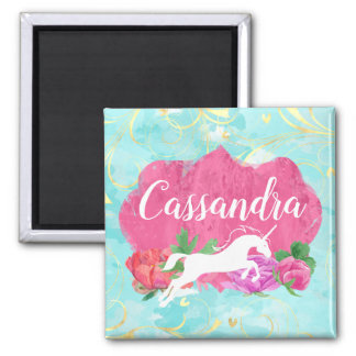 Watercolor Flower Unicorn Pink Blue Girls Name Magnet