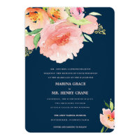 watercolor flower wedding invitation •  MARINA