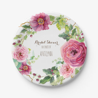 Watercolor Flower Wreath Peony Rose Bridal Shower Paper Plate
