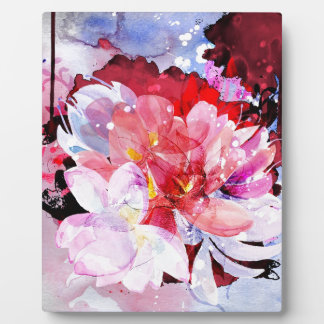 Watercolor flowers. Abstract illustration Plaque