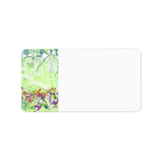 Watercolor Flowers Address Label
