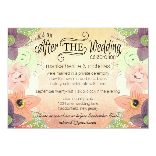 Watercolor Flowers After Wedding Invitations Zazzle