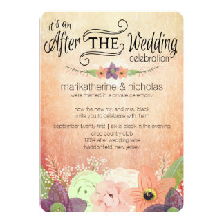watercolor_flowers_after_wedding_party_invitations raba24b883c0e4b018c5756b2f6605264_zk9gc_324?rlvnet=1 post wedding party invitations & announcements zazzle,Reception Invitation Wording After Elopement