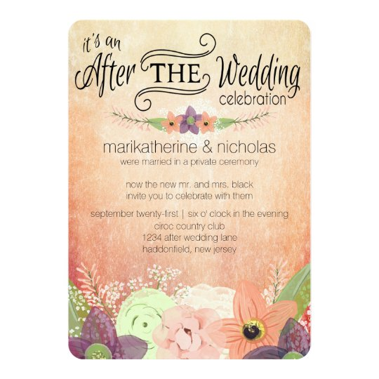 Invitation For Reception After The Wedding: Watercolor Flowers After Wedding Party Invitations
