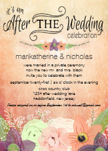 After wedding invitations zazzle watercolor flowers after wedding party invitations stopboris