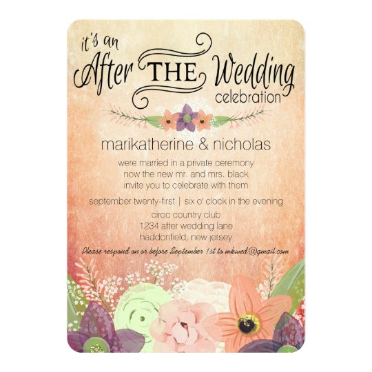 Wedding Party Invitations: Watercolor Flowers After Wedding Party Invitations