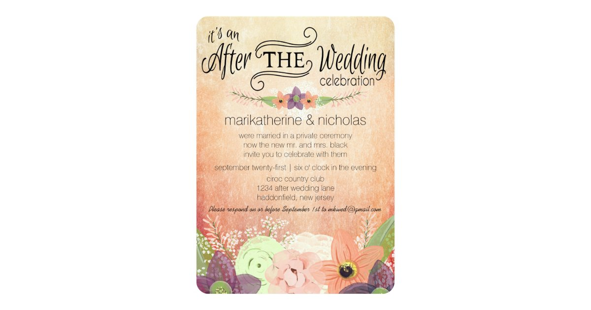 After Wedding Party Invitation: Watercolor Flowers After Wedding Party Invitations