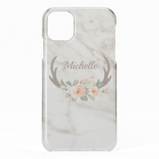 Watercolor Flowers And Antlers iPhone 11 Case