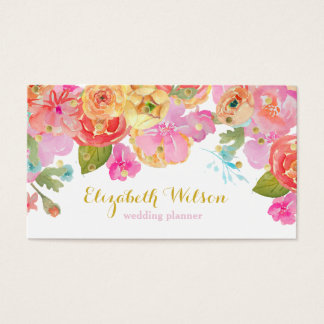 watercolor flowers and gold foil dots business card