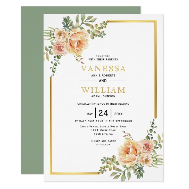 Watercolor flowers and gold frame floral wedding invitation
