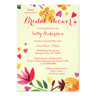 Watercolor Flowers and Hearts Bridal Shower Card