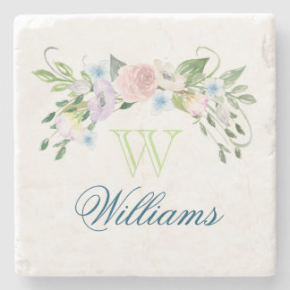 Watercolor Flowers and Monogram Stone Coaster