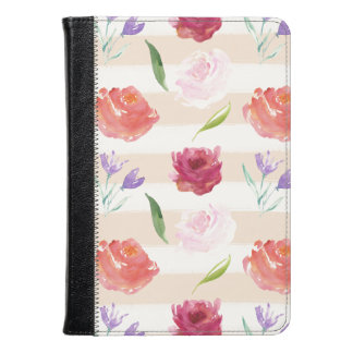 Watercolor Flowers and Stripes Kindle Case