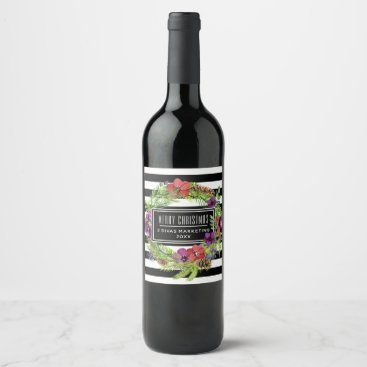Professional Business Watercolor Flowers and Stripes Wine Label