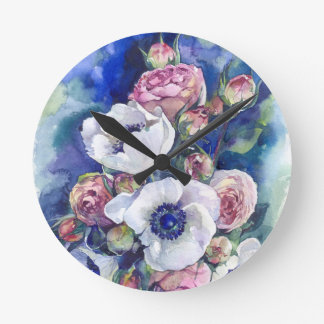 Watercolor flowers anemone roses illustration flow round clock