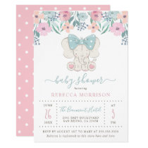 Watercolor Flowers Baby Girl Elephant Baby Shower Invitation
