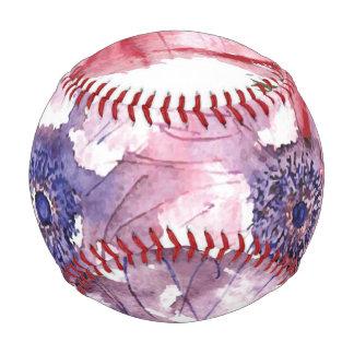 Watercolor flowers baseball