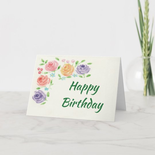 Watercolor Flowers Birthday Card Large Print