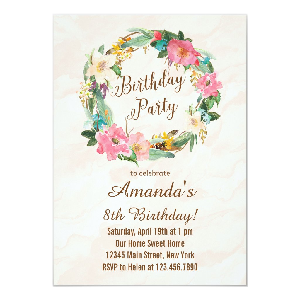 Watercolor Flowers Birthday Invitation