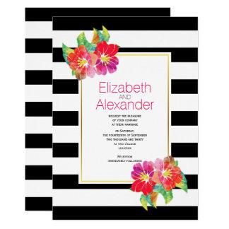 Watercolor flowers black white stripes wedding card