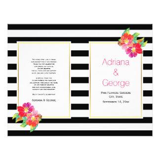 Watercolor flowers black white wedding program