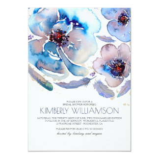 Watercolor Flowers Blue Boho Bridal Shower Card