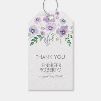 Watercolor Flowers Blue Purple Wedding Thank You Gift Tags