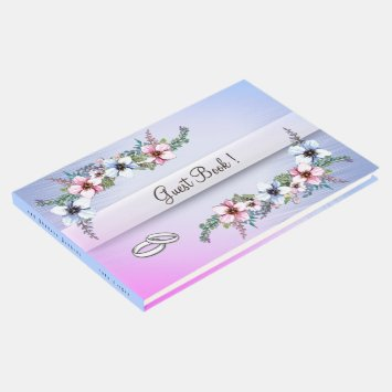 Watercolor Flowers Blue Shine Wedding Guest Book