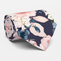 Watercolor Flowers Blush Navy Roses DIY Background Neck Tie