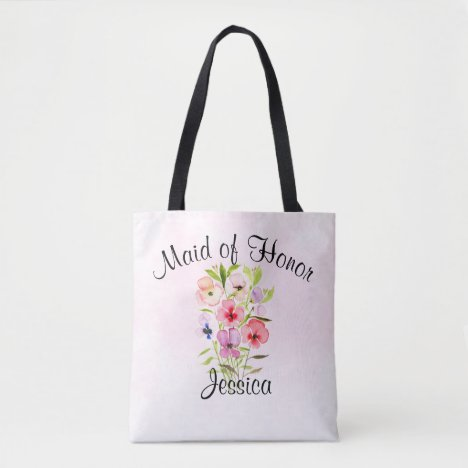 Watercolor Flowers Bouquet Maid of Honor Wedding Tote Bag