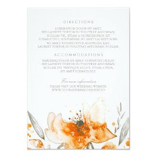 Watercolor Flowers Bouquet Orange Wedding Details Card