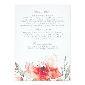 Watercolor Flowers Bouquet Wedding Details Card